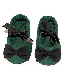 SnugOns Baby Shoes With Bow Applique - Green
