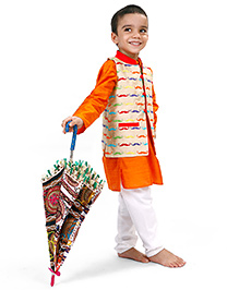 Raghav I love Stache Embroidered Quirky Ethnic Koti - Beige