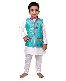 Raghav Happy Ele Embroidered Quirky Koti - Turquiose
