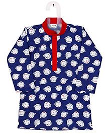 Raghav Fish Print Kurta & Pajama Set - Royal Blue