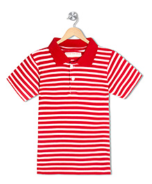 Raine And Jaine Boys Polo T-Shirt - Red & White