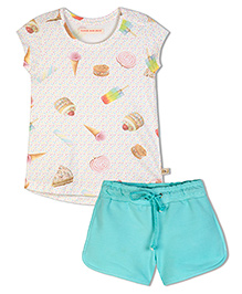 Raine And Jaine Smiley Girls Top & Shorts - Off White & Blue