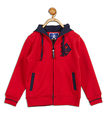612 League Full Sleeves Hooded Jacket - Red