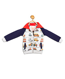 612 League Full Sleeves Hooded Jacket Vehicles Print - White Blue