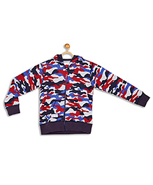 612 League Full Sleeves Jacket Camouflage Print - Blue Red
