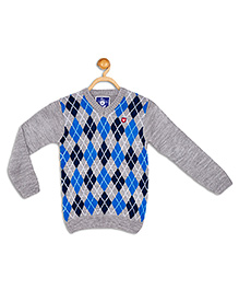 612 League Full Sleeves Flat Knit Sweater - Grey