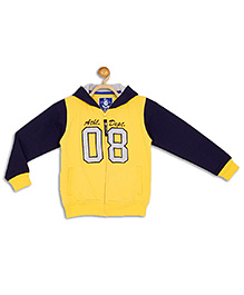 612 League Full Sleeves 8 Applique Hooded Jacket - Yellow