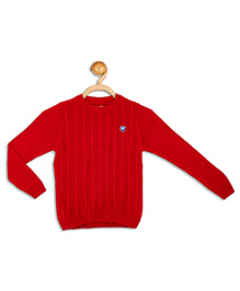 612 League Full Sleeves Flat Knit Sweater - Red