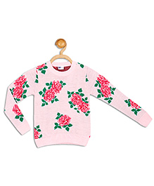 612 League Full Sleeves All Over Floral Print Sweater - Pink