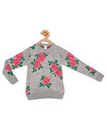 612 League Full Sleeves All Over Floral Print Sweater - Grey