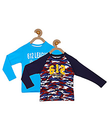 612 League Full Sleeves Multi Print T-shirt Sky And Navy Blue  - Pack Of 2