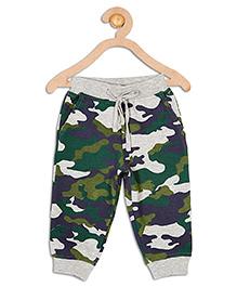 612 League Full Length Drawstring Camoflague Print Track Pants - Green