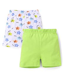 Babyhug Shorts Pack of 2 - White Green
