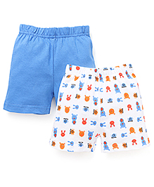 Babyhug Solid Color And Printed Set Of 2 Shorts - White & Royal Blue