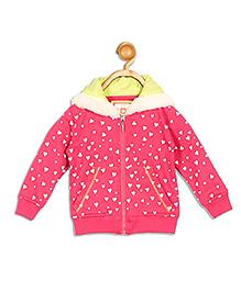 612 League Full Sleeves Hooded Jacket Hearts Print - Pink