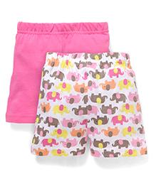 Babyhug Shorts Elephant Print Pack of 2 - Pink White