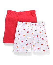 Babyhug Shorts Cupcake Print Pack of 2 - Red White