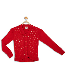 612 League Full Sleeves Sequined Cardigan - Red