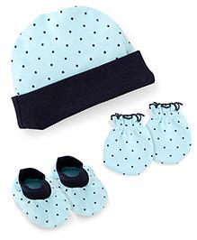 Babyhug Dotted Print Cap Mittens And Booties Set - Aqua