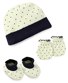 Babyhug Dotted Print Cap Mittens And Booties Set - Lemon