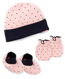Babyhug Dotted Print Cap Mittens And Booties Set - Peach
