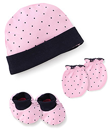 Babyhug Dotted Print Cap Mittens And Booties Set - Pink
