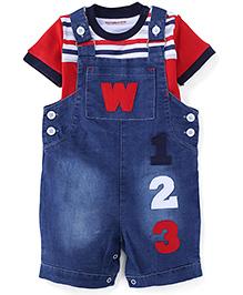 Wonderchild Boys 2 Piece Denim Dungree Set - Blue & White