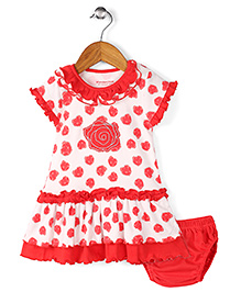 Wonderchild Heart Print Dress With Bloomer - Red