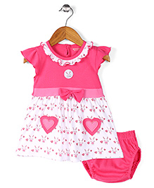 Wonderchild Heart Print Dress With Bloomers - Pink