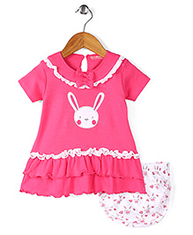 Wonderchild Bunny Print Dress With Bloomer - Pink