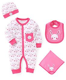 Wonderchild 4 Piece Clothing Set Rabbit Print - Pink White