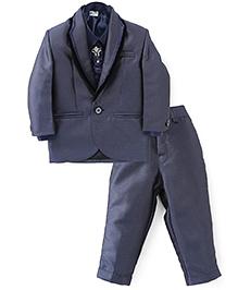 Babyhug 3 Pieces Party Wear Suit Set With Tie - Steel Grey