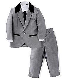 Babyhug 3 Pieces Party Wear Suit Set With Tie - Grey