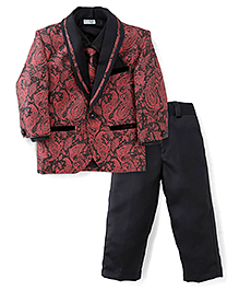 Babyhug 3 Pieces Party Wear Suit Set With Tie - Maroon