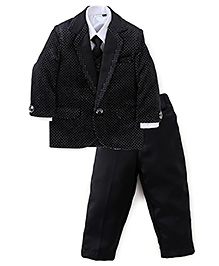 Babyhug 4 Pieces Party Wear Suit Set With Tie - Black
