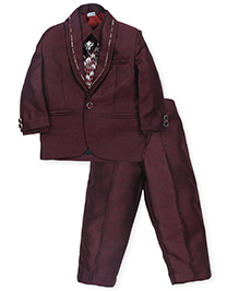 Babyhug 4 Pieces Party Wear Suit Set With Tie - Maroon