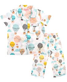 CrayonFlakes Parachute Night Suit - White & Multicolour