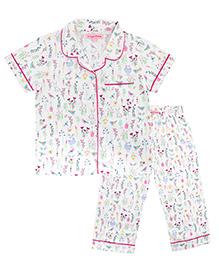CrayonFlakes Garden Night Suit - White & Multicolour
