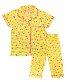 CrayonFlakes Balloon Night Suit - Yellow