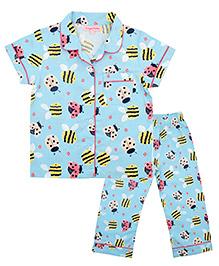 CrayonFlakes Bee Print Night Suit - Blue