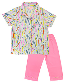 CrayonFlakes Pencil Night Suit - Multicolour & Pink