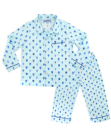 CrayonFlakes Parachute Night Suit - Light Blue