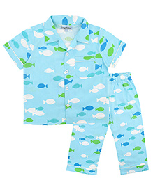 CrayonFlakes Fish Night Suit - Blue