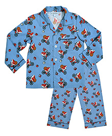 CrayonFlakes Santa On Cycle Night Suit - Blue