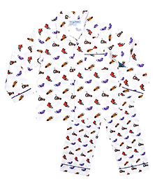 CrayonFlakes Shoe Night Suit - White & Multicolour