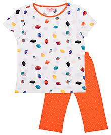 CrayonFlakes Blocks & Polka Dot Night Suit - White & Orange