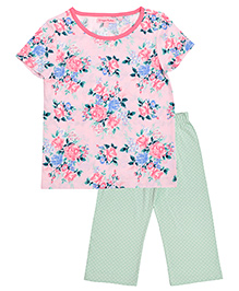 CrayonFlakes Floral Print With Polka Dot Night Suit - Pink & Green