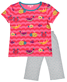 CrayonFlakes Fruits Print With Polka Dot Night Suit - Pink & Grey