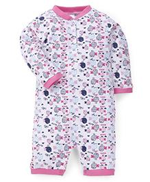 Babyhug Full Sleeves Romper Bird Print - Pink White