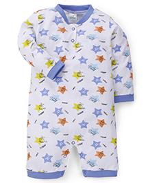 Babyhug Full Sleeves Romper Star Print - Blue White